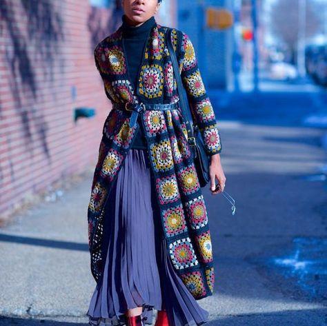 Crocheted coat Jacket Granny square coat Female cardigan Scarf Handmade coat Fashion design Autumn coat Boho coat Black coat Granny Square Coat and scarf hoody jacket friform by AlisaSonya