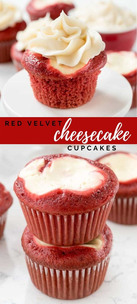 red velvet christmas cookie These Red Velvet Cheesecake Cupcakes are perfect for any event, holiday, or party. Homemade red velvet cupcakes are filled with cheesecake and topped with cream cheese frosting. Theyre so good and you cant eat just one! Köstliche Desserts, Delicious Desserts, Dessert Recipes, French Desserts, Plated Desserts, Healthy Desserts, Bon Dessert, Oreo Dessert, Food Cakes