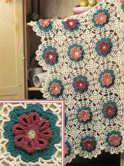 "Fluted Flowers Afghan - Looks great in any home. Decoration size: 46 x 68"" (appx) Designed by Maggie Weldon free pdf from freepatterns.com"