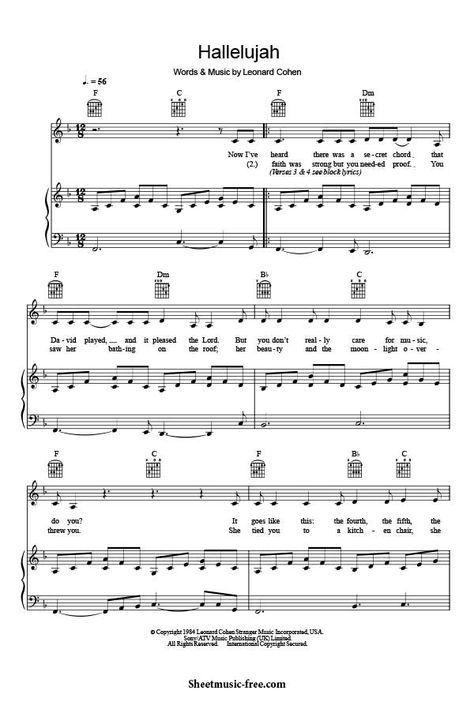 Hallelujah Piano Sheet Music Leonard Cohen Hallelujah Sheet