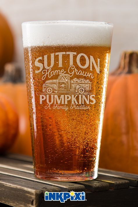 Pumpkins Clear Pint Glass Engraved Single Custom Pint
