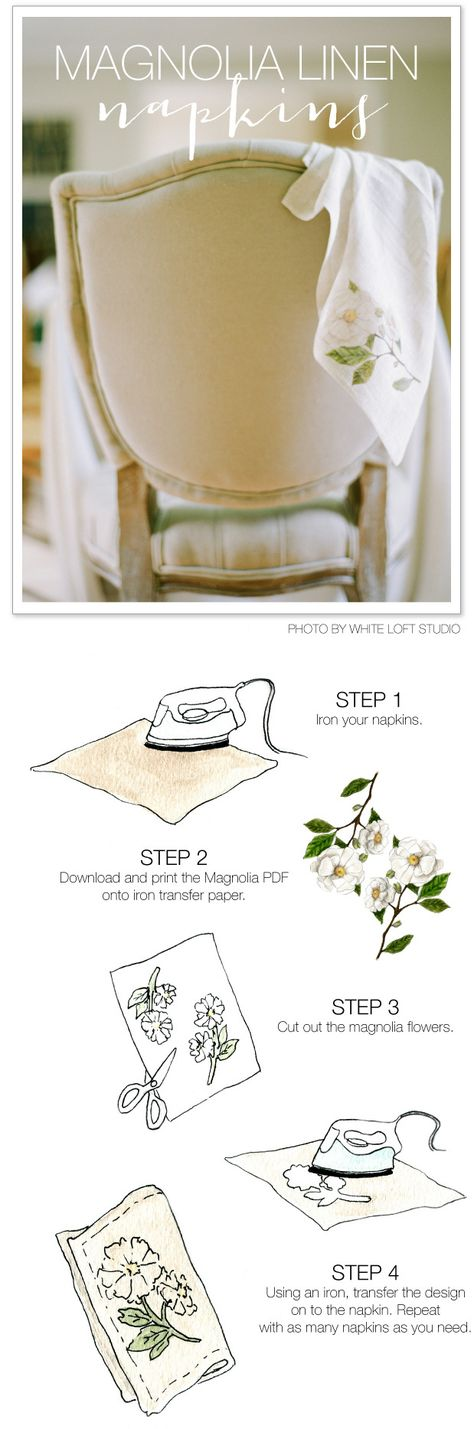 DIY Magnolia Napkins   For the Holidays - or the truly DIY Bride! Read more - www.stylemepretty...
