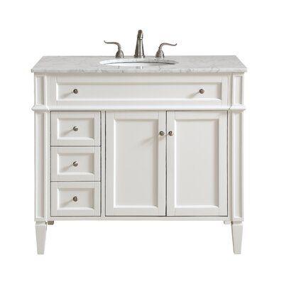 Antionette 40 Single Bathroom Vanity Set Base Finish White In
