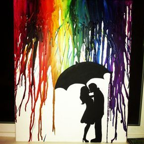 Melted crayon art on canvas by Lauren Elizabeth. Couple kissing silhouette rainbow.