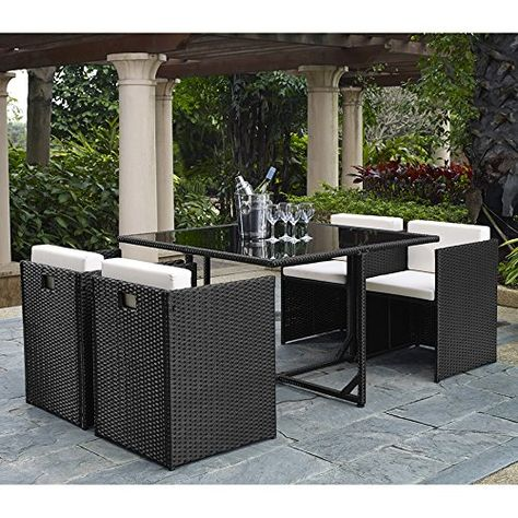 Complete Outdoor Indoor 5 Piece Rattan Wicker Cube Dining Table