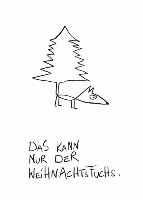 Postkarte Weihnachtsfuchs.