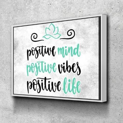 Positive Mind Canvas Set - 1 Piece / 48x36 / Gallery Wrap + White Floating Frame