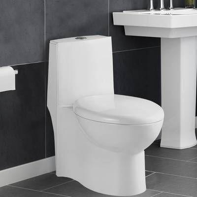 Chateau Dual Flush Elongated One Piece Toilet Seat Included Wall Mounted Toilet One Piece Toilets Toilet Decoration