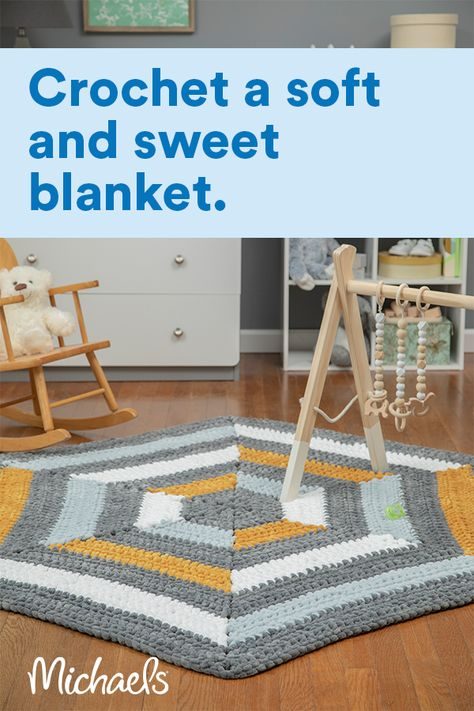 This fun geometric blanket is the perfect touch for a modern themed baby room. Crocheted with Sweet Snuggles™ it's super soft and crochets up quickly. Don't let the color changes intimidate you, you'll only be working with one color at a time and the new color will always be waiting for you in the right spot when it's time to switch to the next color.