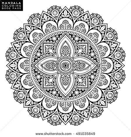 Blumen Mandala Vintage Dekorative Elemente Orientalisches Muster Vektorillustrati Coloring Mandala Malvorlagen Buchseite Blumen Mandala Ausmalen