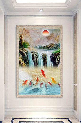 Chinese Style Beautiful Oil Painting Landscape Squid Porch Decorative Painting Pikbest Decors Models Painting Beautiful Oil Paintings Decorative Painting