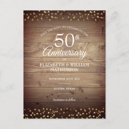 50th Anniversary Gold Hearts Rustic Save The Date Announcement Postcard Zazzle Com In 2020 Save The Date Invitations Anniversary Invitations 50th Wedding Anniversary