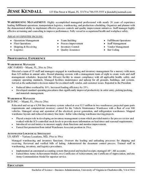 warehouse resume sample free