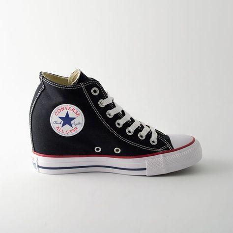 Converse alte con zeppa interna nere - All star Lux | Converse ...