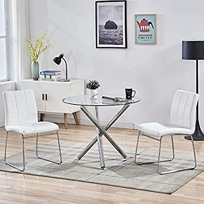Amazon Com Sicotas 3 Piece Round Dining Table Set Modern Kitchen Table And Chairs For 2 Pe In 2020 Round Dining Table Sets Dining Room Table Set Dining Table Chairs