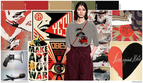 #FashionSnoops FW 17/18 graphics on #WeConnectFashion. Women's trend: PROPAGANDA