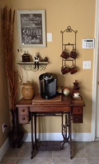 My Coffee Bar Using Singer Sewing Table.