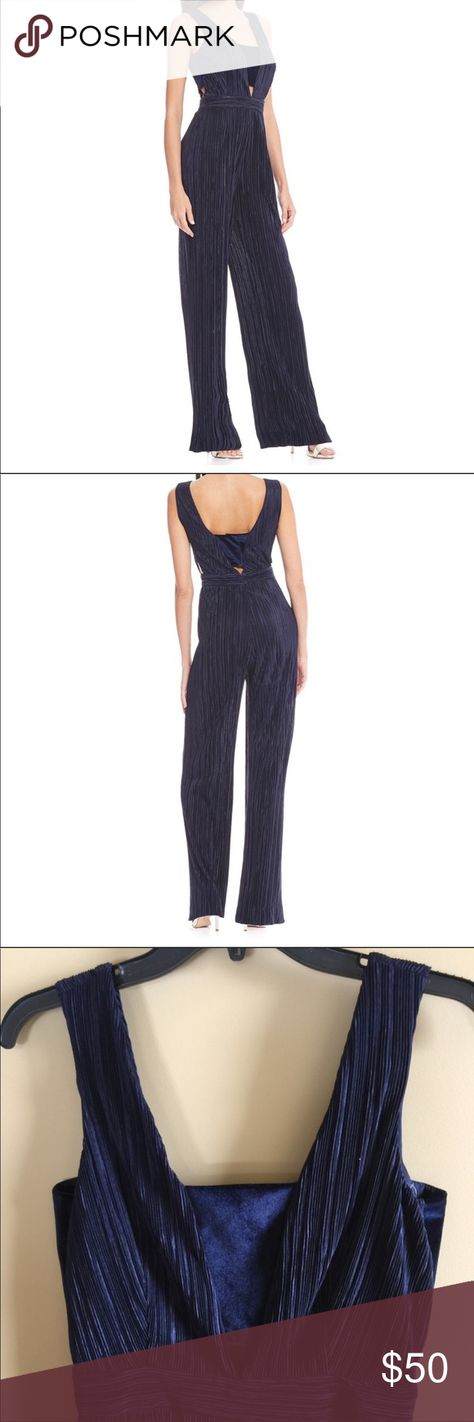 5b149b006ca Gianni Bini pleated satin   velvet Jumpsuit. NWT Navy jumpsuit perfect for  holiday or night