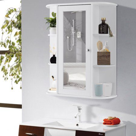 Wooden Mirror Door Indoor Wall Mountable Bathroom Organisers Cabinet Shelf