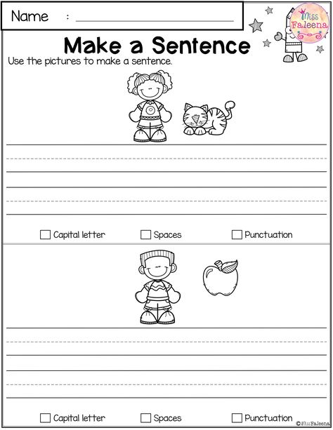 Free Reading and Writing Practice. This Product has 7 pages of reading and writing practice. Second Grade Writing, Sentence Writing, First Grade Reading, Pre Writing, Writing Lessons, Writing Practice, Writing Skills, Writing Prompts, Writing Sentences