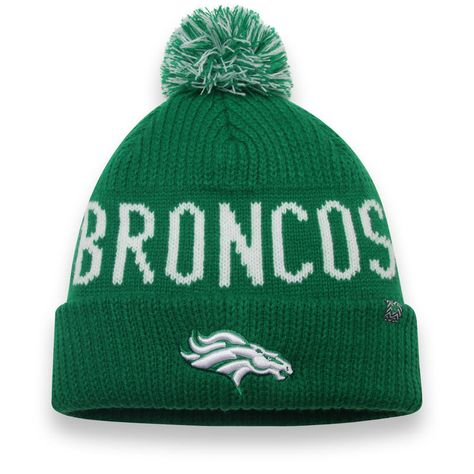 check out 6e887 d611b Denver Broncos NFL Pro Line by Fanatics Branded St. Patrick s Day Cuffed  Knit Hat with Pom - Kelly Green