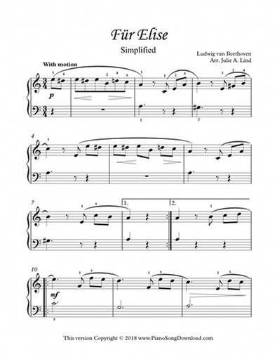 Fur Elise Simplified Beethoven Printable Easy Free Piano Sheet