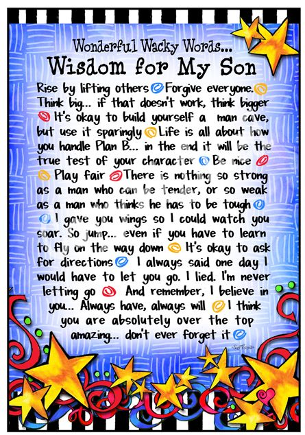 Finally something uplifting for sons and mothers of sons. I'm going to put this in the book I'm going to start for him and give him when he graduates high school.  It will be filled with memories from each school year and a letter from Joey and I each year.  Then when Tucker gets older he can add to it too.