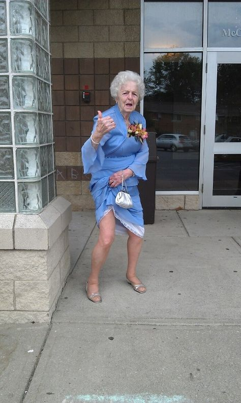 Granny hitching a ride. Isn't she awesome??