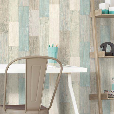 Roommates Coastal White And Blue Weathered Wood Planks Peel And Stick Wallpaper Walmart Com Peel And Stick Wallpaper Weathered Wood Wood Planks