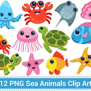 Sea Animals Digital Stamps Clipart Etsy In 2021 Clip Art Sea Animal Clipart Sea Animals