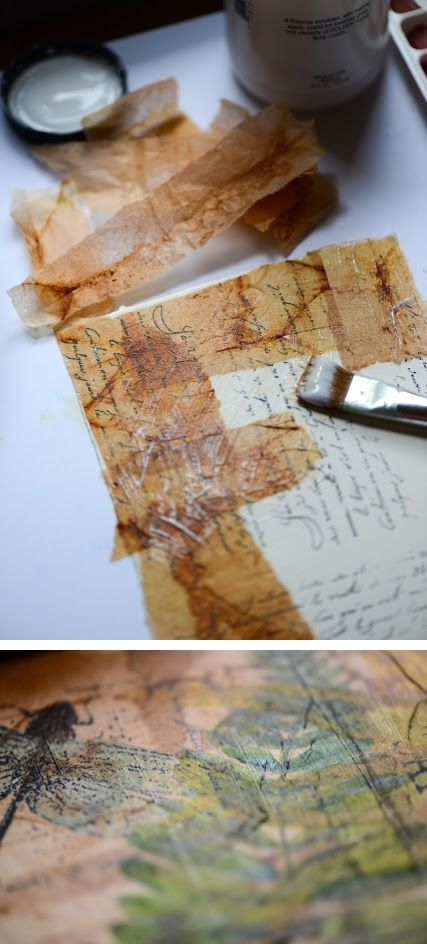 Watercolor on tea bags ~ Tea bags were torn open glued to watercolor paper. Paper had been stamped beforehand with text, then designs were sketched painted over the tea bags along with the dragonfly stamp. . . . . ღTrish W ~ http://www.pinterest.com/trishw/ . . . . #art #journal