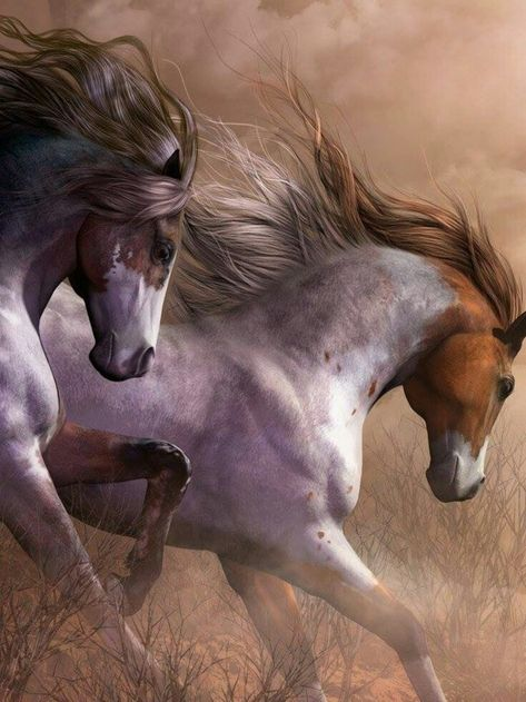 BLISS, beautiful horse art. Horses running, freedom.