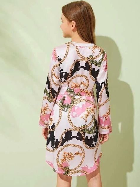 Girls Chain Print High Low Hem Belted Dress – Kidenhouse