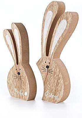 Amazon De Heitmann Deco 2er Osterhasen Set Holz Hasen