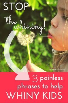 Are you sick and tired of all the whining in your house? It's time to break the whining habit. Help your kids stop whining with these three simple phrases. These are so effective, even for little ones!