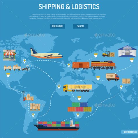 Buy Shipping and Logistics Concept by -TAlex- on GraphicRiver. Shipping and Logistics Concept with Railway Freight, Air Cargo, Maritime Shipping and Trucking in Flat style icons.