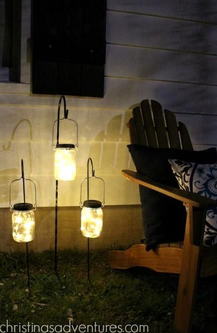 Solar Powered Mason Jar Lights On Hooks Awesome Outdoor Lighting Idea In 2020 Mason Jar Diy Jar Lights Mason Jar Lighting
