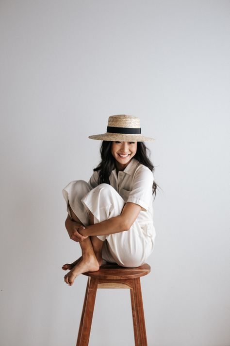 Faye Medium - Natural Straw Boater Hat