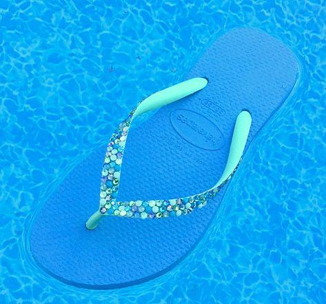 35bf3810cbf8c Blue Mint Green Havaianas Slim flat Crystal Flip Flops w/ Swarovski ...