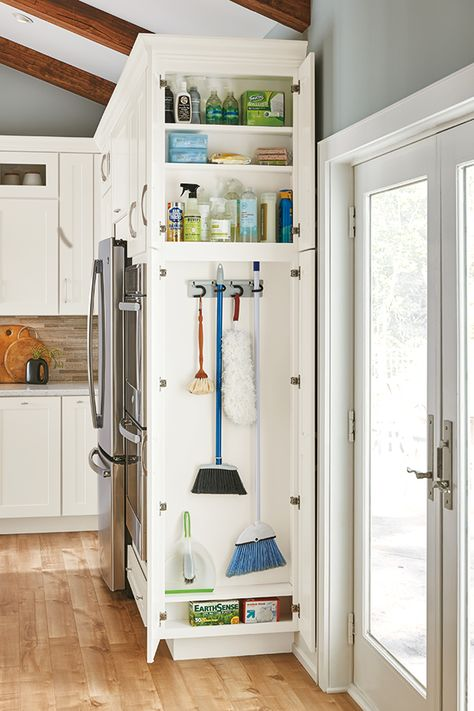Home Remodel Kitchen Keep cleaning supplies neat and tidy and on hand at all times with our Utility Cleaning Cabinet.Home Remodel Kitchen Keep cleaning supplies neat and tidy and on hand at all times with our Utility Cleaning Cabinet. Diy Kitchen Storage, Kitchen Cabinet Organization, Home Decor Kitchen, Cabinet Ideas, House Organization Ideas, Rustic Kitchen, Kitchen Modern, Mudroom Storage Ideas, Kitchen Interior