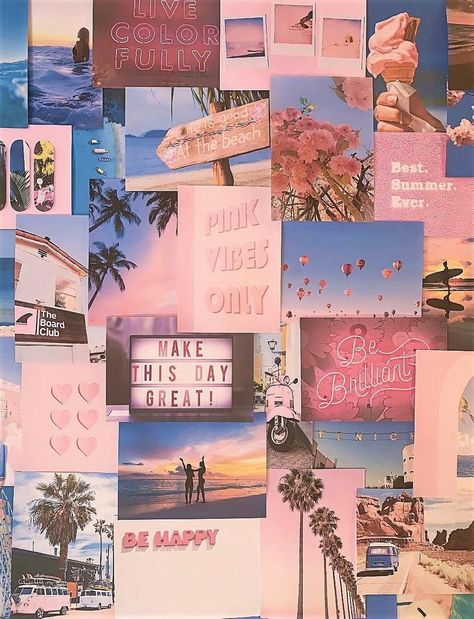 Pretty Peachy Pink Pastel Aesthetic Blue Large Size Wall Collage Kit VSCO Vintage Room Decor prints, photos, pictures - Free delivery