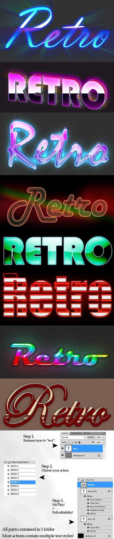Retro Style Text Actions