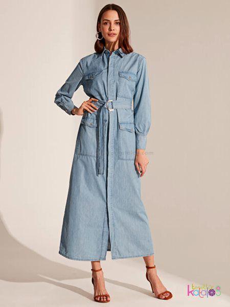 Kusakli Jean Uzun Elbise 2020 Uzun Elbise Gomlek Elbise Elbise