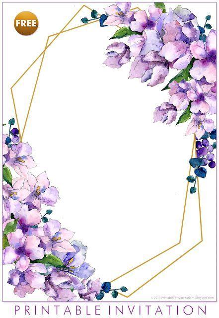 Free Printable Purple Floral Invitation Templates Weddingprintables Diyweddi Floral Invitations Template Blank Wedding Invitation Templates Flower Invitation