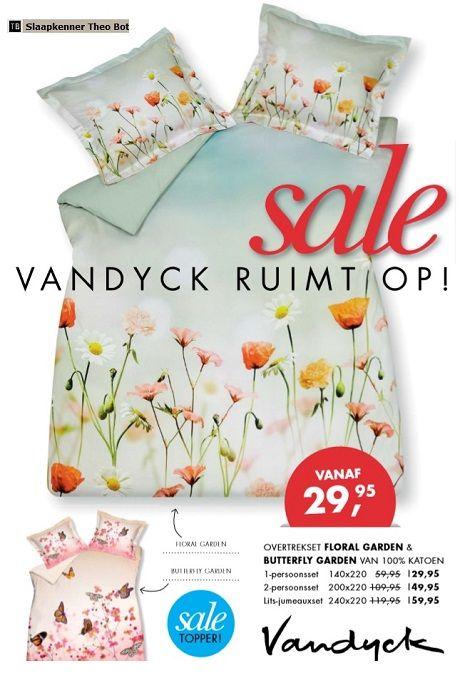 Bedtextiel Van Dijck.Sale Dekbedovertrek Folder Van Dyck Floral Garden Butterfly Groen