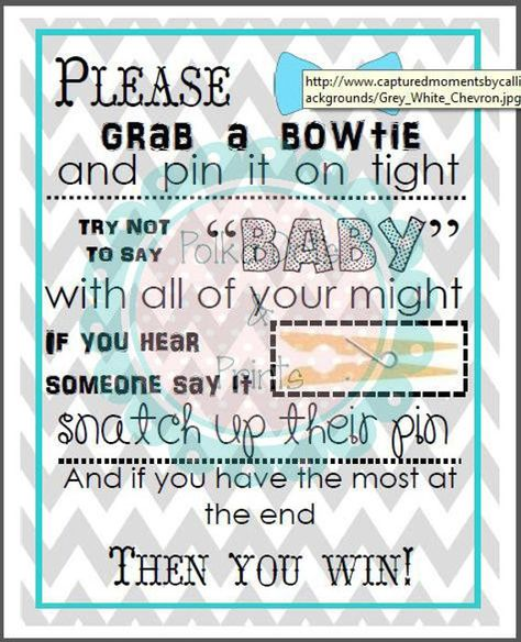 Fits in an frame. Simply print and frame for a quick and easy decor option for your baby boy baby shower! Print and cut out bow ties and glue to clothes pins for an adorable game at your baby boy shower!