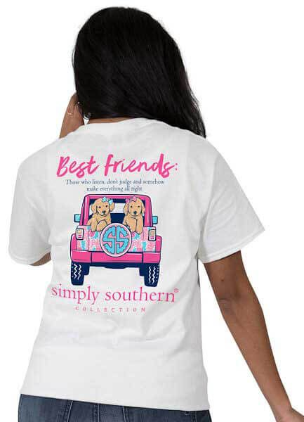 Simply Southern Best Friends T Shirt Preppy Tee For Women In White