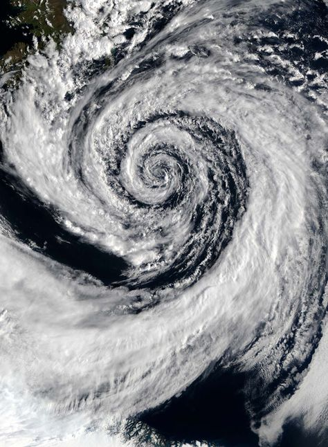 Weather pattern, clouds over Earth. Spirals.