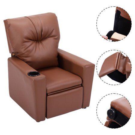 Goplus Kids Sofa Manual Recliner Leather Ergonomic Lounge W Cup Holder Children Gift Recliningsofa Kids Sofa Chair Kids Recliners Kids Sofa