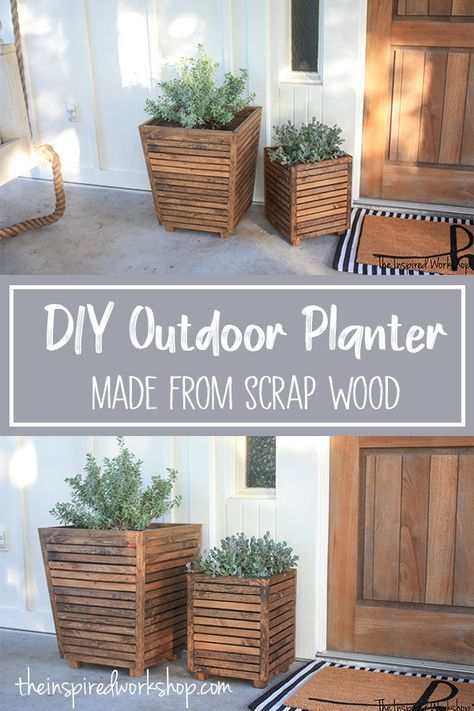 DIY Scrap Wood Outdoor Planter - - Want to spruce up your front porch or patio, and need to do it on budget? How about a free DIY scrap wood outdoor planter that is sure to wow your friends! Diy Planters Outdoor, Diy Wood Planters, Diy Outdoor Decorations, Outdoor Storage, Wooden Planter Boxes Diy, Wood Decorations, Bois Diy, Scrap Wood Projects, Diy Furniture Plans Wood Projects